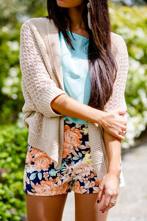 So cute! Printed shorts with cardi.
