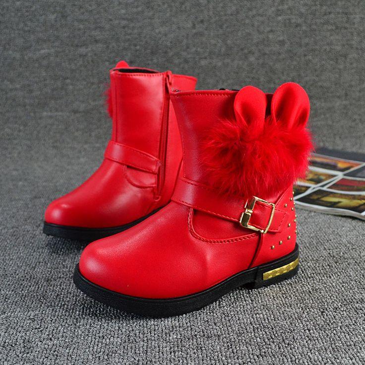 Новый стиль дети сапоги обувь для девочек теплый хлопка девочек девушки зимние ботинки детские мода заклепки кожаные сапоги детей обувь для девочек