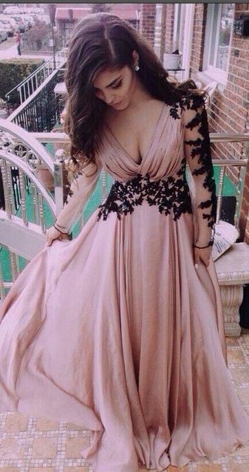 Prom Dreses With Sleeves,Women Prom Dresses,Cheap Simple Prom Dresses,Plus Size Prom Dresses, Top Selling Deep V-neck Long Sleeves Lace Pink A-line Long Prom Dresses,Evening Dresses,Evening Gowns,Prom Gowns