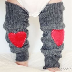 Turn an old sweater into sweet Valentine's Day baby leg warmers with this easy tutorial.
