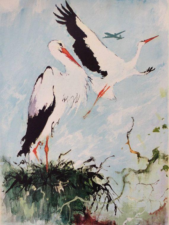 1955 SAS Airlines Poster SCANDINAVIA Storks  by OutofCopenhagen