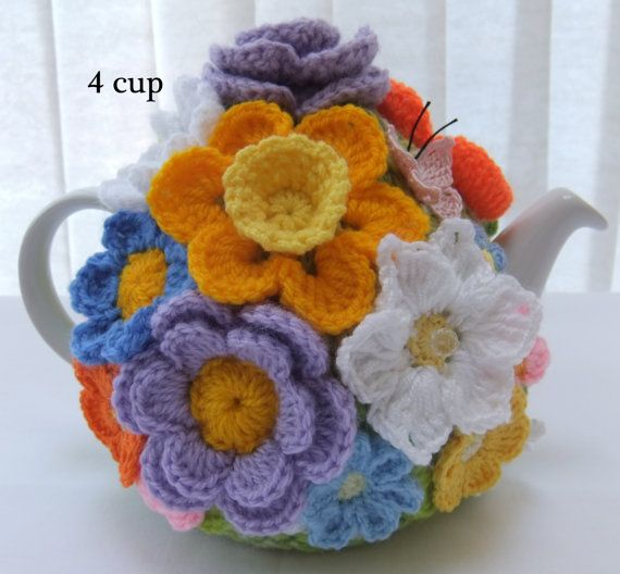 Hand knitted 4 cup Spring Rose floral tea cosy