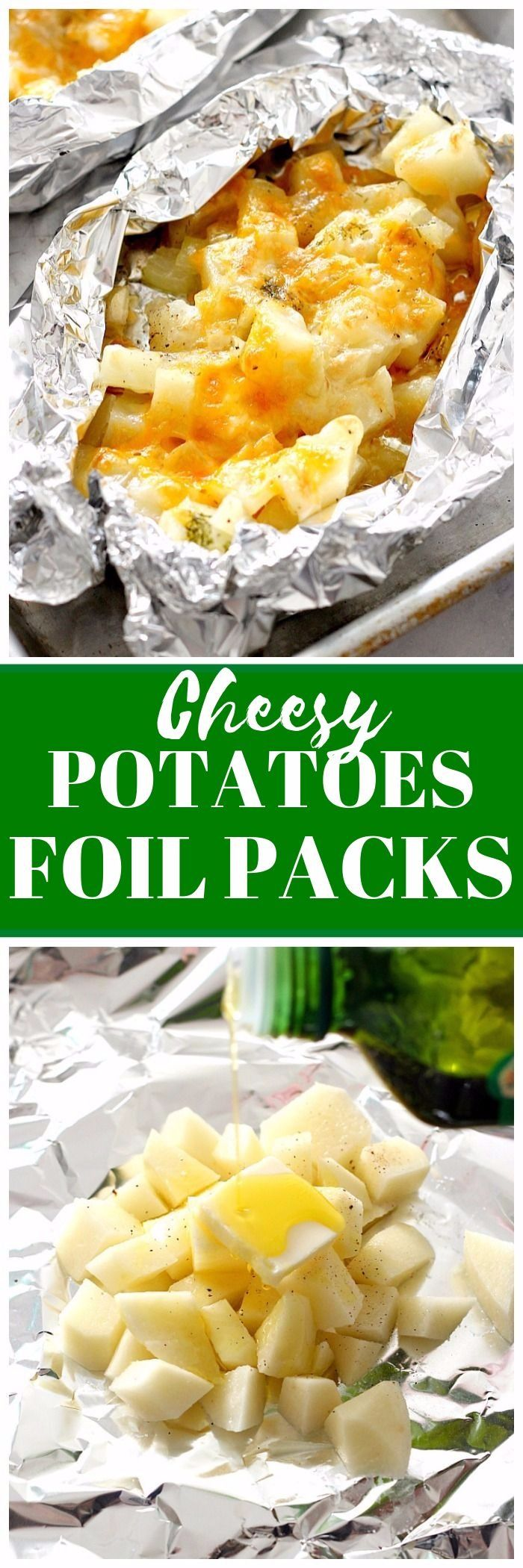 Cheesy Potatoes Foil Packs Recipe - easy and delicious side dish that can be baked in the oven or cooked on the grill! No-mess clean up makes these perfect for a quick dinner!