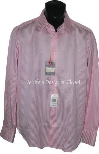 NWT ROBERT GRAHAM Size-15.5 men's pink white striped dress shirt