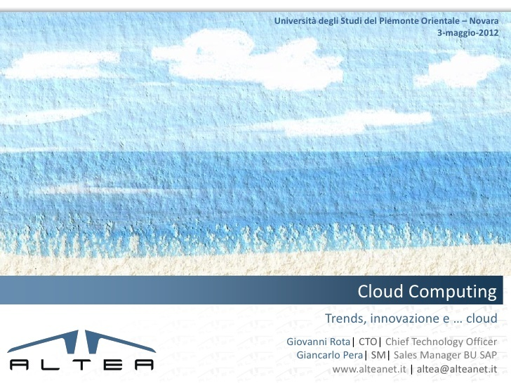 Cloud e dintorni by Giovanni Rota via Slideshare