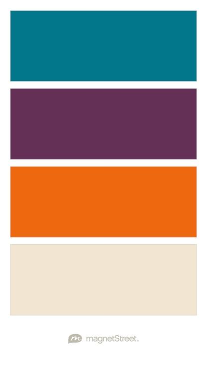 Peacock, Eggplant, Orange, and Champagne Wedding Color Palette - custom color palette created at MagnetStreet.com
