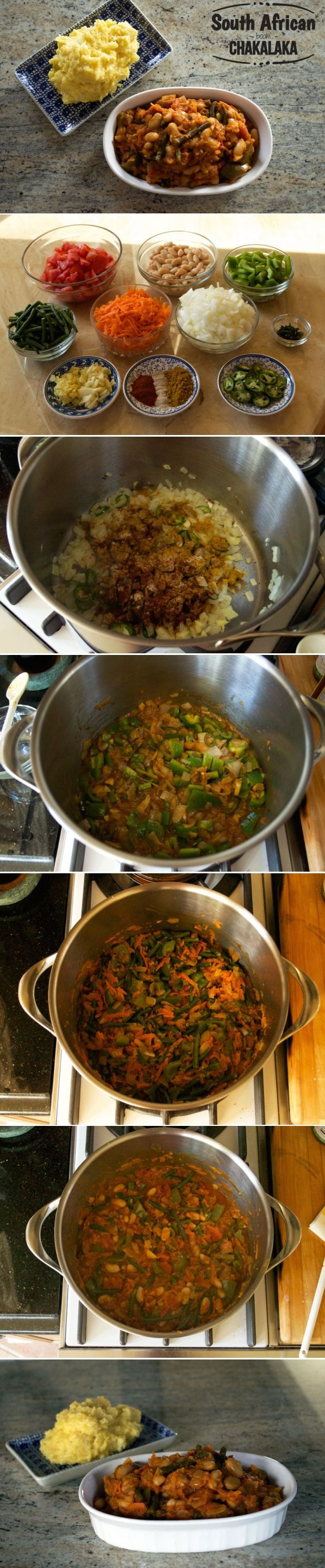 "Chakalaka is a fantastic vegetarian ""chameleon recipe."" Use it as a condiment, as a vibrant accompaniment to rice or mealiepap, or even as a standalone stew. It really is delicious every way you have it. #africanfood #vegetarian Get the recipe at arousingappetites.com/chakalaka/"