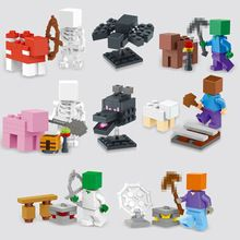 2015 NEW 8pcs/set juguetes minecraft steve skull spiderman blocks Minifigures action figure SET toys Bricks Compatible(China (Mainland))