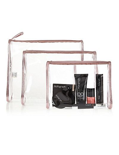 3 Piece Clear Cosmetic Bag Set | M&S