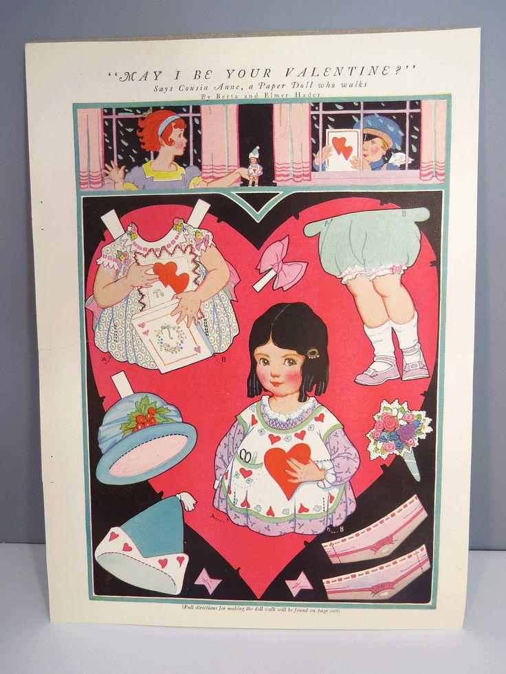 Vintage VALENTINE Walking Paper Doll, Original & UNCUT, Child Room Decor, Paper Doll Ephemera by UrbanRenewalDesigns on Etsy