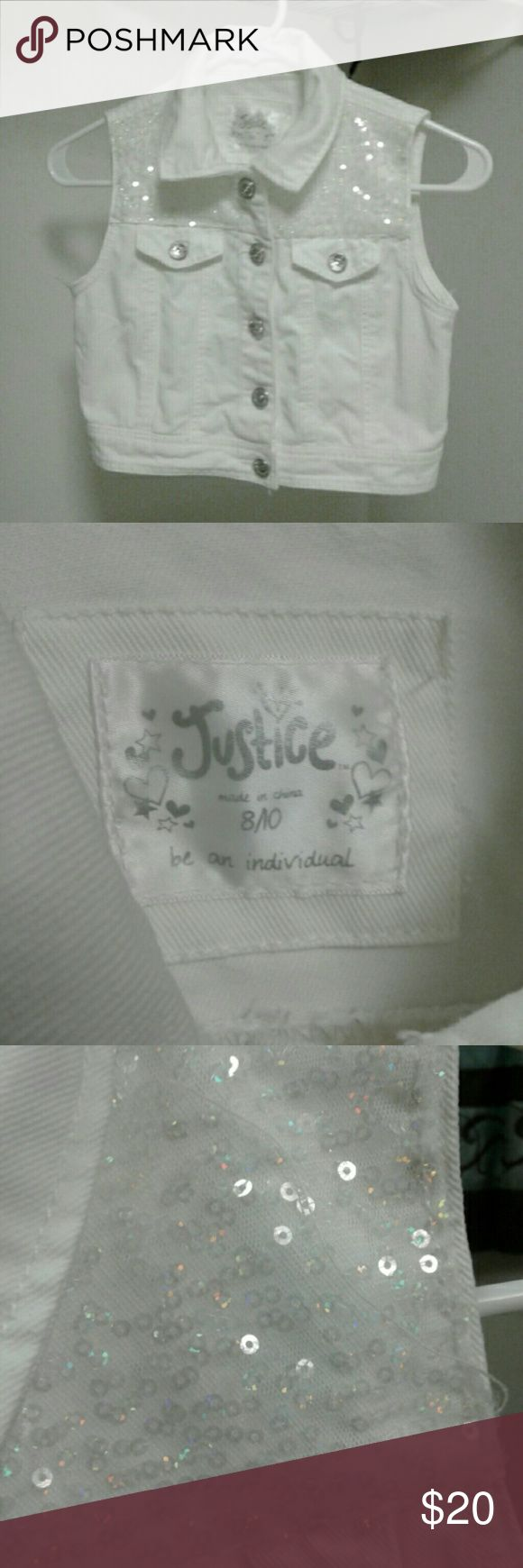 White jean vest Brand new never worn. From Justice in the mall. Child's size Justice Jackets & Coats Jean Jackets
