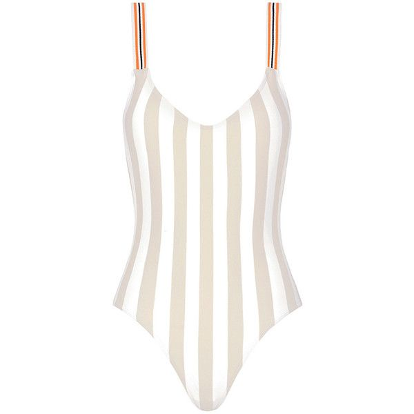 Rye Zsa-Zsa Striped One Piece Swimsuit (685 BRL) ❤ liked on Polyvore featuring swimwear, one-piece swimsuits, open back swimsuit, one piece swim wear, one piece bathing suits, 1 piece bathing suits and low back swimsuit