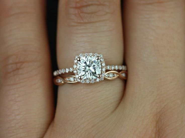 This better be my ring! Rosados Box Barra 6mm & Ember Rose Gold Cushion FB Moissanite and Diamond Halo Wedding Set