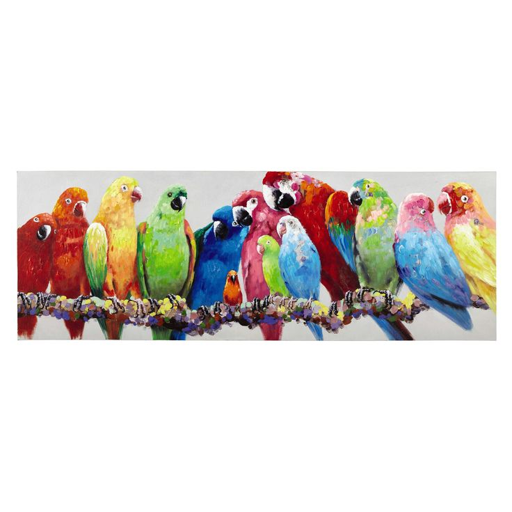 LUCIANA multicoloured parrots canvas 70 x 200cm