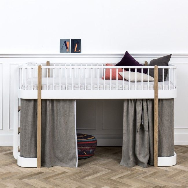 White and Oak Wood Low Loft Bed by Oliver | Nubie - Modern Baby Boutique