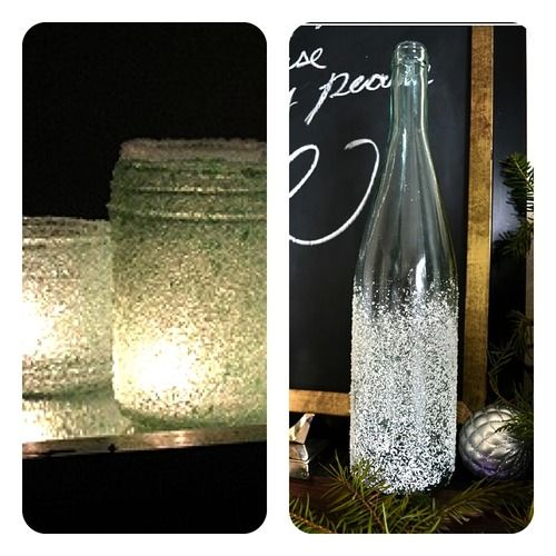 Cover any vase or bottle with adhesive spray and roll in epsom salt for a great, snow covered effect.  Fill with a candle or twinkle lights for a warm, holiday glow.