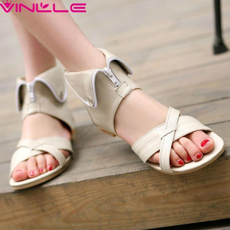 Price tracker and history of 4 Colors Summer White Soft PU Concise Women  Sandals Zipper Flat Heel Women Shoes Open Toe Casual Women Sandals Big Size  42 43