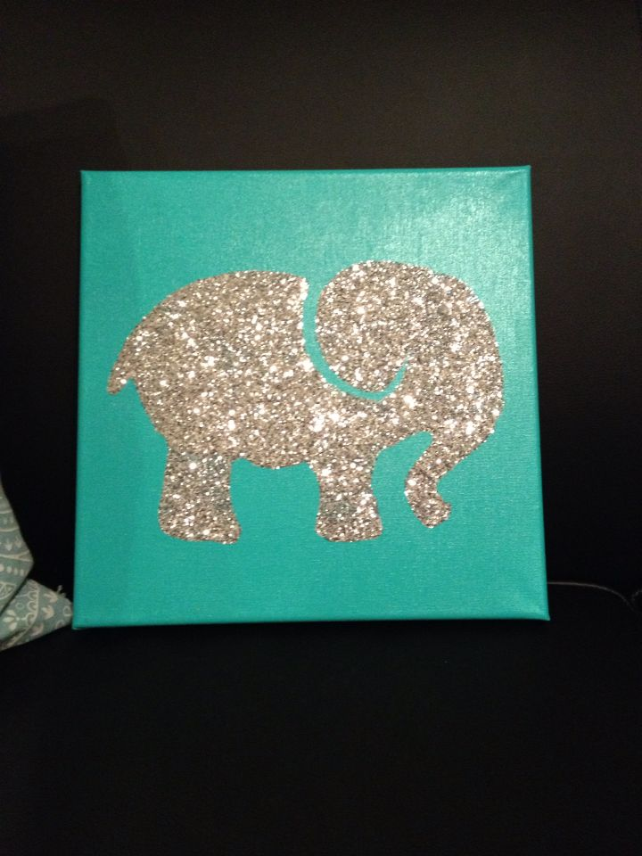 Glitter elephant canvas painting!