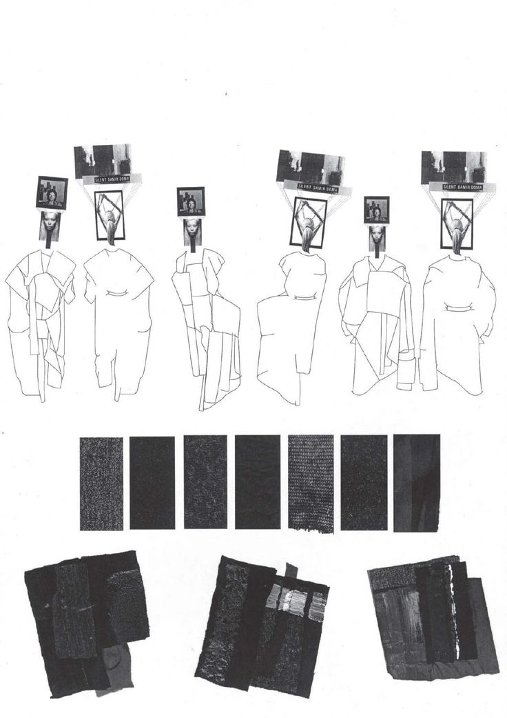 Fashion Sketchbook page - fashion design drawings, research & fabrics; fashion portfolio layout // Louise Alsop