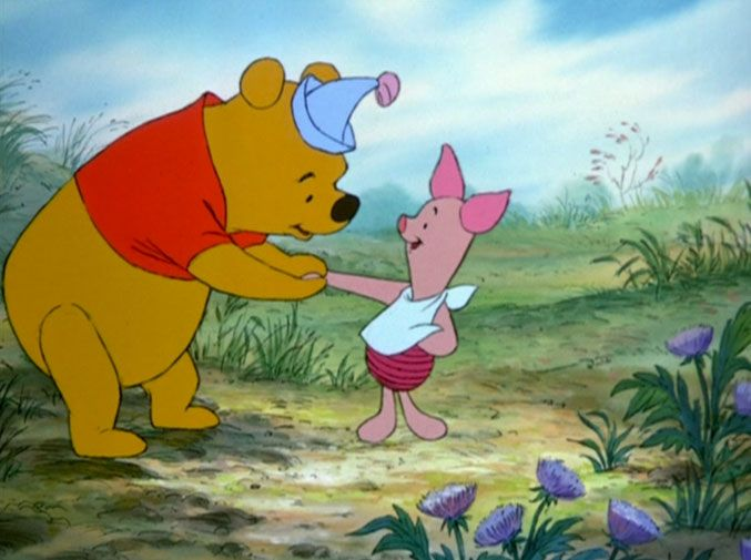 When Piglet gives up his house, and Christoper Robin makes a one hero party into a two hero party.
