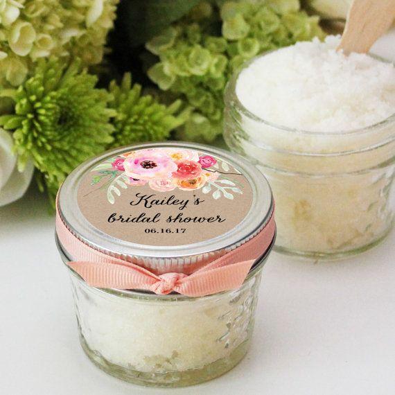 set of 12 4oz sugar scrub bridal shower favor allnatural vegan bouquet label rustic shower favor mason jar favor