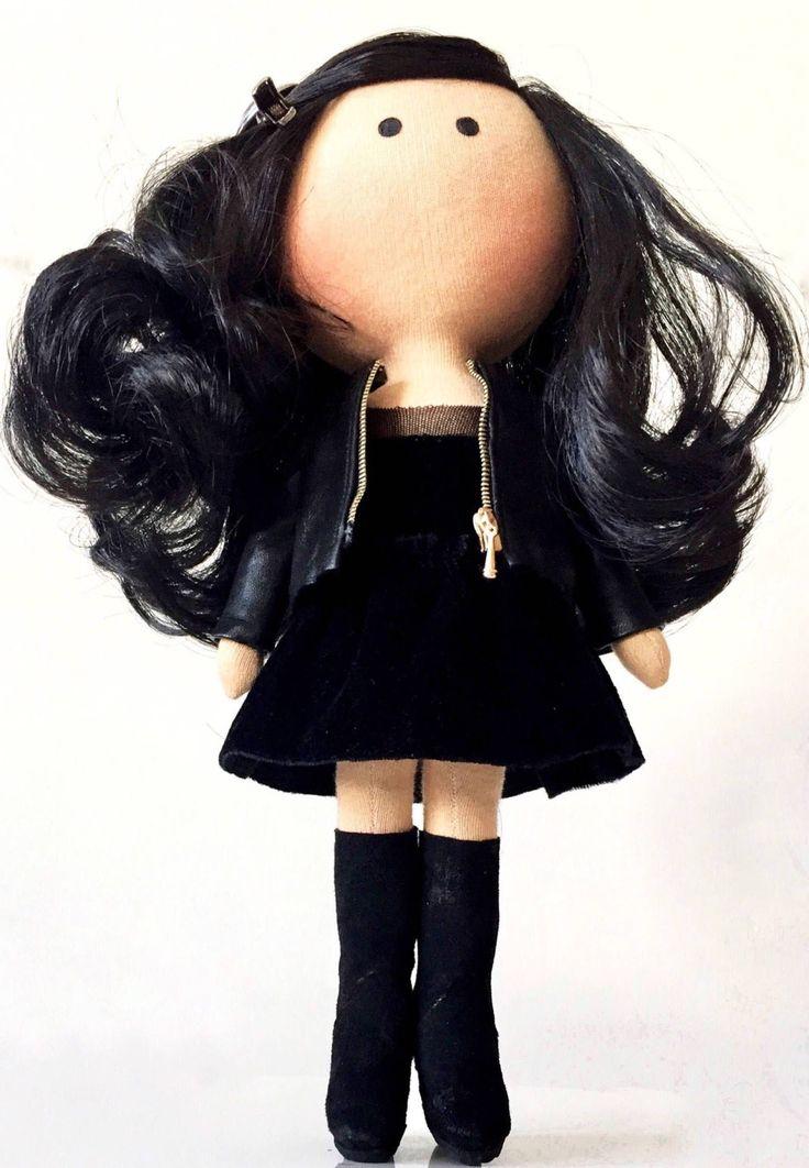 PticaDolls Goth girl Brunette handmade fabric doll Selfie portrait doll PDF pattern Soft textile Tilda doll Girlfriend gift Gift for her Art cloth doll by PticaDolls on Etsy