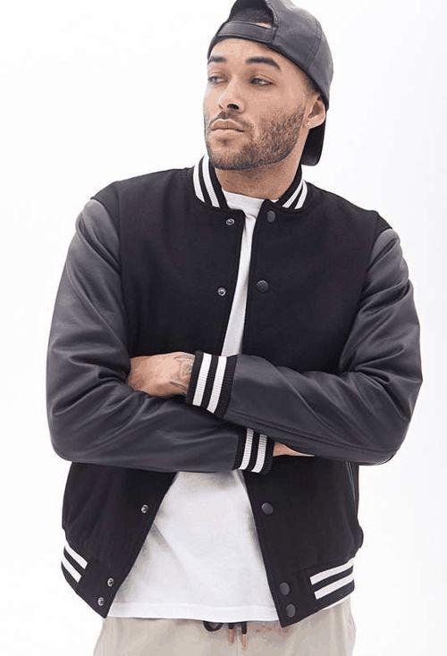 Forever 21 | Faux Leather Varsity Jacket #forever21 #varsity #jacket http://www.passbandung.com/