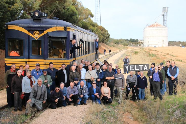 After Murrayville we traveled to Yelta, and here we all are at Yelta, You should come along and enjoy heritage train taravel with DERMPAV.  You can see us at www.dermpav.net.au