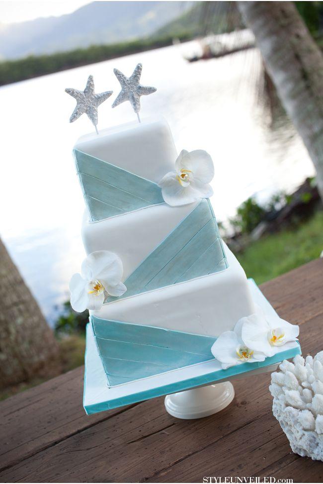 Aqua and White Beach Inspired Wedding Cake / Michelle Garibay Events / Hawaii Inspired Wedding Ideas / Marella Photography / via StyleUnveiled.com