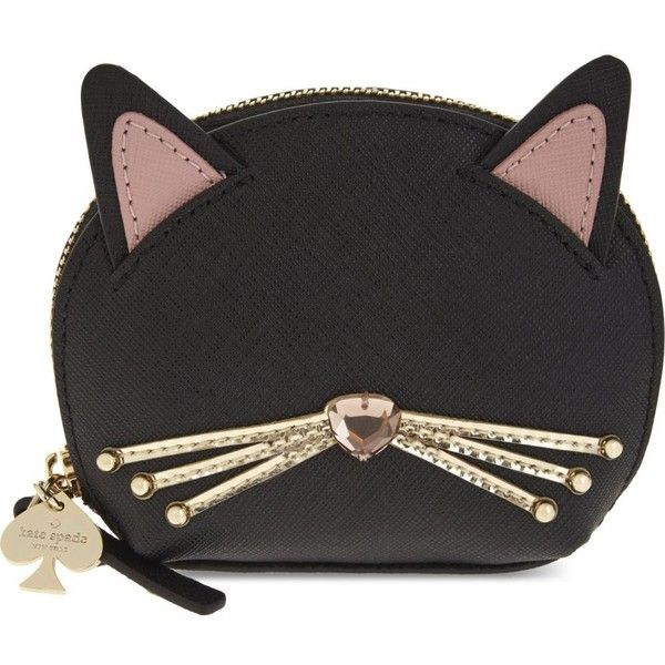 KATE SPADE NEW YORK Novelty cat leather coin purse (4,405 PHP) ❤ liked on Polyvore featuring bags, wallets, zipper coin purse, zip wallet, change purse wallet, leather zip wallet and kate spade wallet