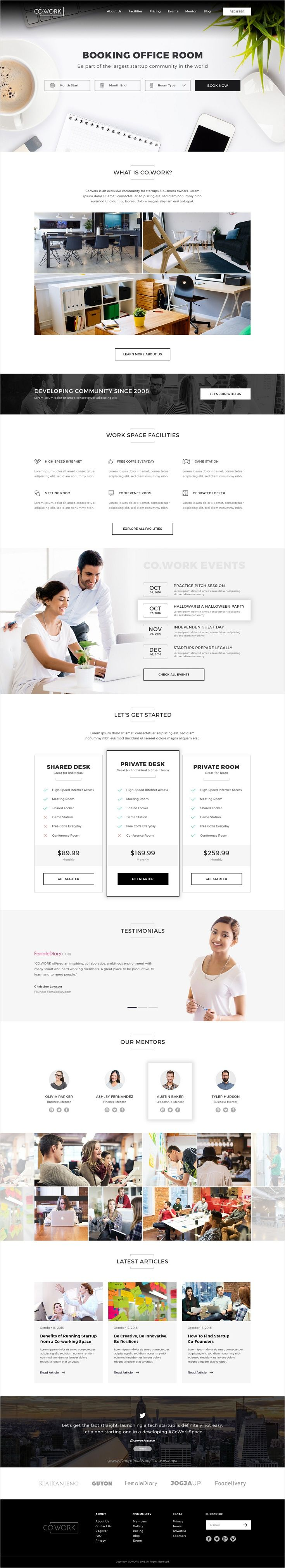 Co.Work is modern and fresh design #Photoshop template for #startups #officeroom Open Office, Coworking Space & Creative Space website download now➩ https://themeforest.net/item/cowork-open-office-creative-space-psd-template/18401389?ref=Datasata