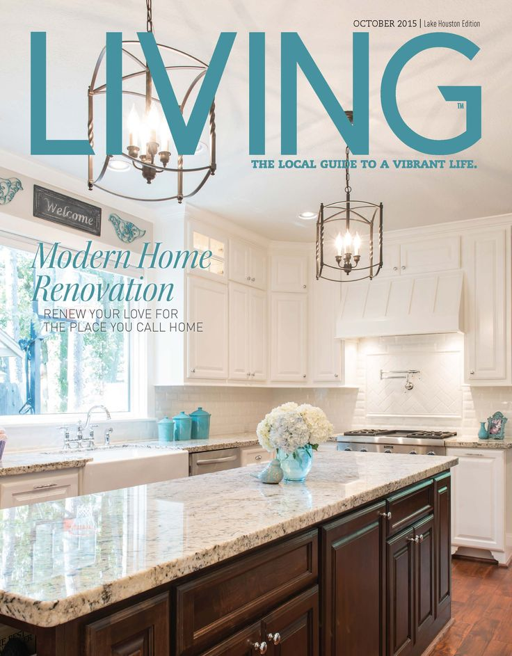 October 2015 Cover Issue Of Living Magazine Featuring MHR Modern Home Renovation In Kingwood Texas