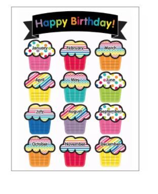 This Downloadable Just Teach Birthday Printable Chart Features 12 Monthly Cupcakes With Space For Writing In Students Names Keeping Track Of