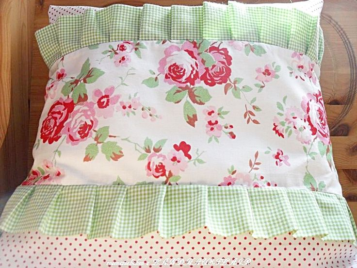 ♥ROSEN♥RÜSCHEN♥KISSEN♥BEZUG♥hellgrün♥Vichy Karo♥ von ~*~♥♥♥ rosenstuebchen ♥♥♥~*~ auf DaWanda.com