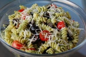 ... pasta, fresh basil pesto, black olives, cherry tomatoes, and pine nuts