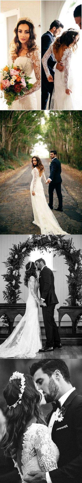 Elegant Lace Long Sleeve Wedding Dresss Latest V-Neck Open Back Bridal Dresses , PD0225