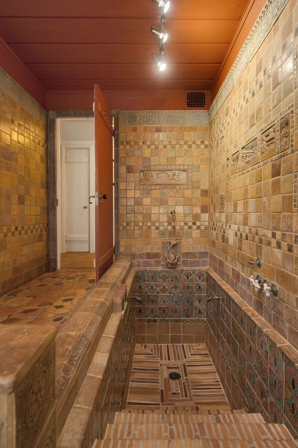all the tiles in the bathrooms came form the muresque tile co of oakland