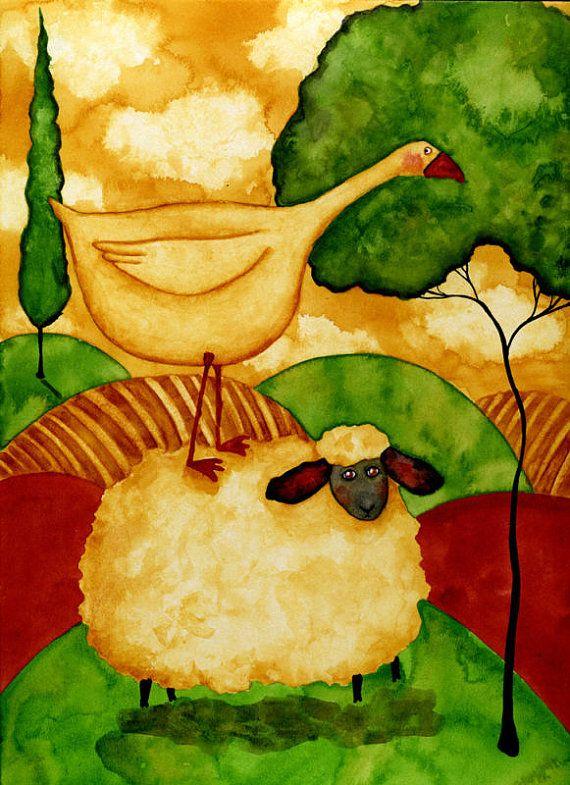 Hubbs Children Art Folk Prints Farm Animals Cow Sheep by DebiHubbs