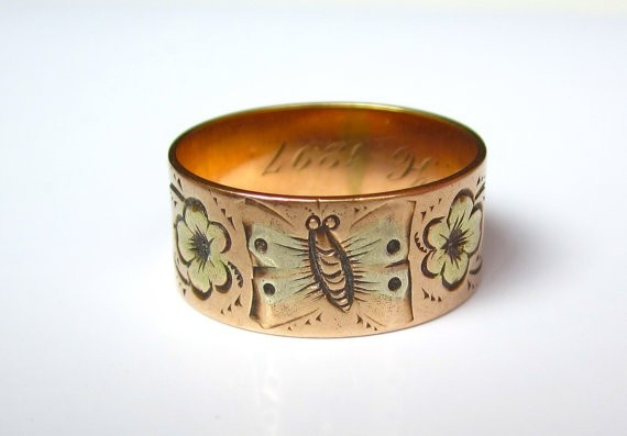 oh antique things, why do i like thee so much??? :: Antique (1897) Victorian Butterfly and Flowers Rose Gold Wedding Band