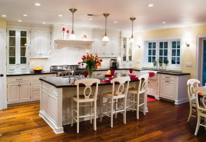 love the island, chairs, white cabinets and dark counters