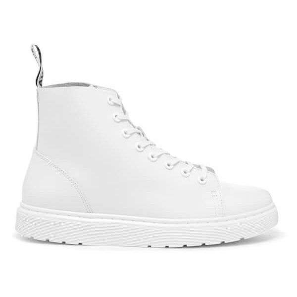 Dr. Martens Vibe Talib 8-Eye Boots - White Venice (1.791.575 IDR) ❤ liked on Polyvore featuring men's fashion, men's shoes, men's boots, white, men's slip resistant shoes, dr martens mens shoes, mens lace up shoes, mens leather shoes and dr martens mens boots