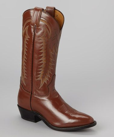 Take a look at this Brandy Promo Worthy Cowboy Boot - Men by Tony Lama on #zulily today!