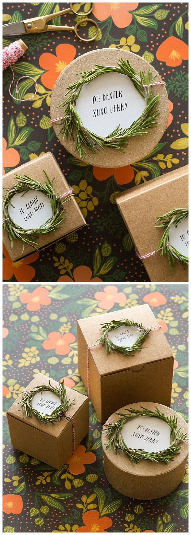 Handmade Rosemary Wreath Gift Toppers Tutorial via Spoon Fork Bacon - The BEST DIY Gift Toppers - Pretty and EASY Inexpensive Handmade Ideas for Christmas, Birthdays, Holidays and any special occasion!