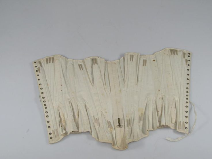 1860s gusseted corset with whalebones and brass eyelets. Amsterdam Museum. [jrb]