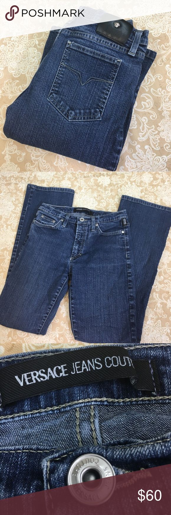 """Versace Jeans Couture Boot Cut Jeans Awesome pair of Versace Jeans Couture boot cut jeans.  97% cotton 3% other fibers. New condition.  Size 27/41.  Note this is Italian sizing, equivalent US size would be 26.  Waist measured flat 13"""", rise 8"""" and inseam 28"""".  PT Versace Jeans Couture Jeans Boot Cut"""