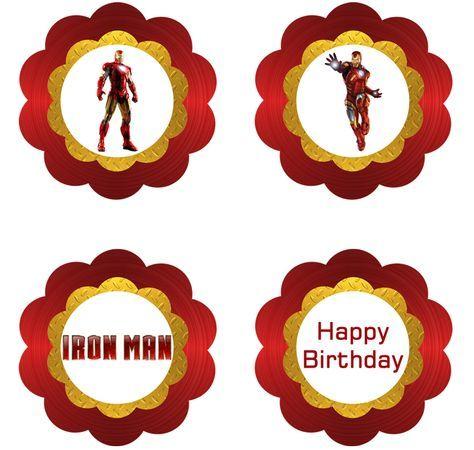 Iron Man Cupcake Toppers - FREE PDF Download