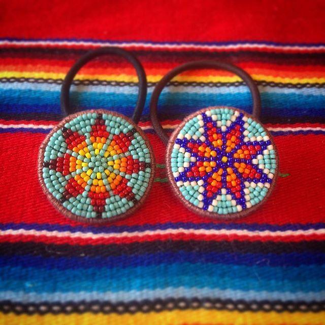 ネイティヴ #オルテガ #エスニック #hairaccessories #handmade #beadswork #ビーズ刺繍 #刺繍 #ビーズ #beads