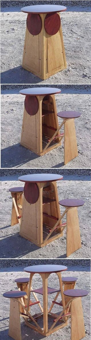 Fold-Out Micro Bar ~ Gotta have some convinient seating to attract some serious…