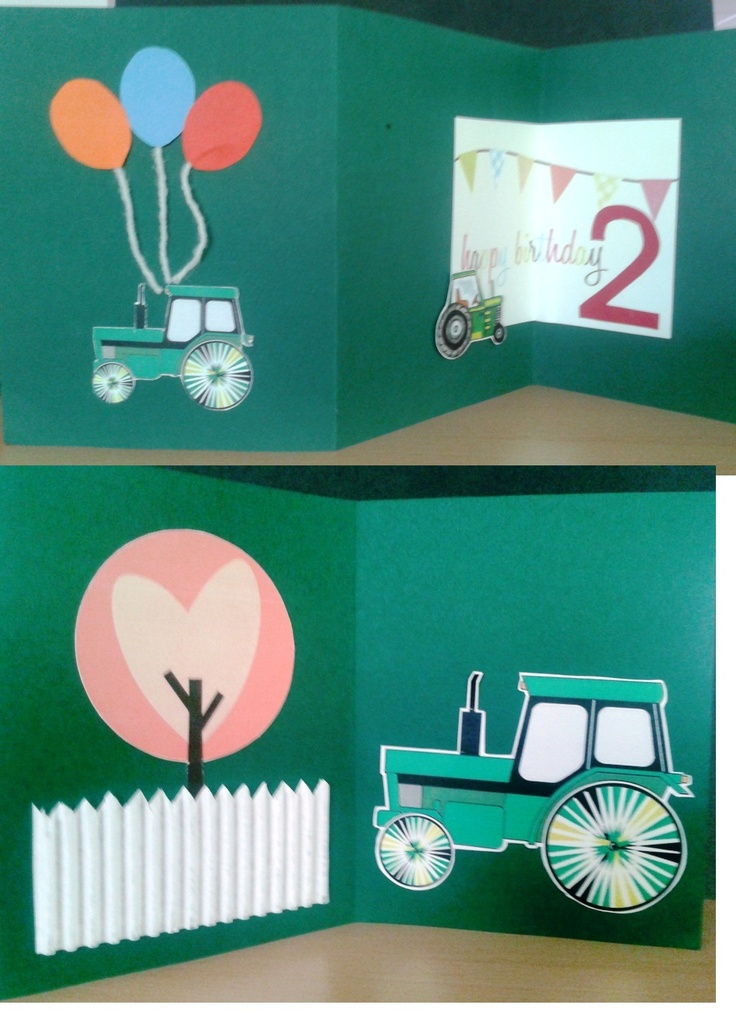 Tractor theme hapy birthday card for 2 years old boy 2