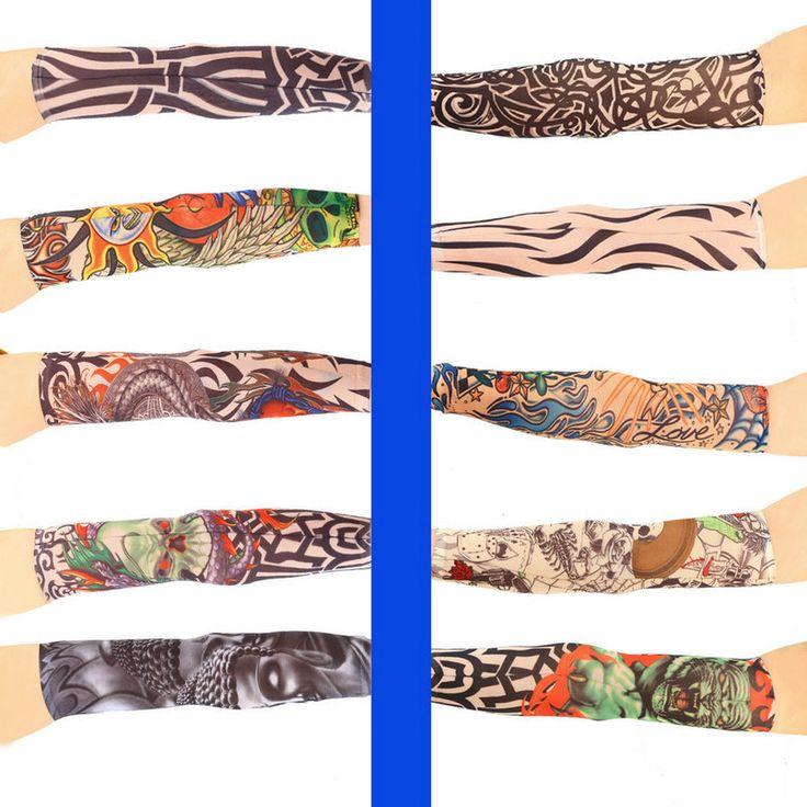 1 stück multi farben mikrofaser elastische Gefälschte temporäre tätowierung ärmel entwirft körper Arm strümpfe tätowierung für coole männer frauen Verkauf